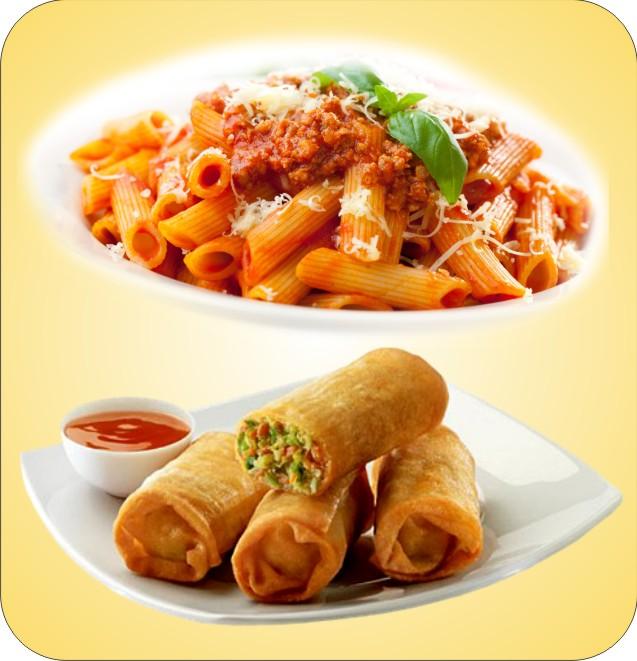Pasta/Roll/ Cheesy Deep & Fries